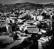 Black and White Italian City Landscape Scene by Emilie Crouch