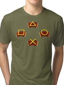 PlayStation Button Icons Crash Bandicoot Style Tri-blend T-Shirt