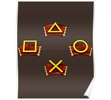PlayStation Button Icons Crash Bandicoot Style Poster