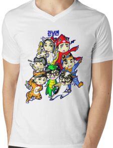 Running Man Kigurumi Mens V-Neck T-Shirt