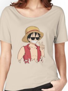 """ONE PIECE: """"The Cool Captain"""" Luffy In Shades Women's Relaxed Fit T-Shirt"""