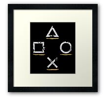 PlayStation Button Icons Uncharted Style Framed Print