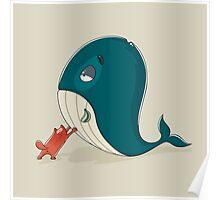 Cute cat with a sickly whale Poster