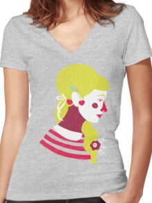 cherries on your ears Women's Fitted V-Neck T-Shirt