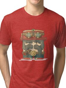 Steampunk dirigible pilot with goggles and hat, leather jacket Tri-blend T-Shirt