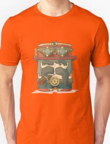 Steampunk dirigible pilot with goggles and hat, leather jacket Unisex T-Shirt
