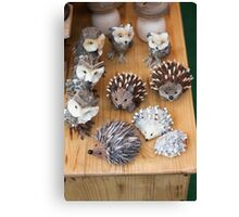 hedgehogs and owls handma Canvas Print