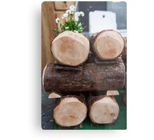 composition with wooden logs Metal Print