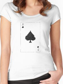 Vintage Look Ace of Spades Playing Card Graphic Women's Fitted Scoop T-Shirt