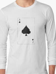 Vintage Look Ace of Spades Playing Card Graphic Long Sleeve T-Shirt