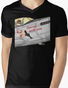 Aircraft nose art FlyN with U Mens V-Neck T-Shirt