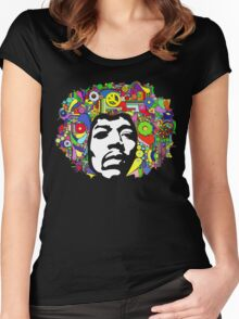 Jimi Hendrix Color Blast Design Women's Fitted Scoop T-Shirt