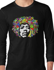 Jimi Hendrix Color Blast Design Long Sleeve T-Shirt