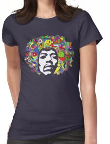 Jimi Hendrix Color Blast Design Womens Fitted T-Shirt