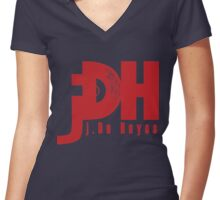 jDH logo – Red Women's Fitted V-Neck T-Shirt