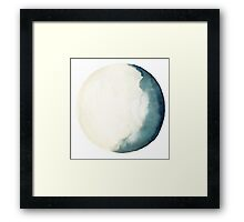 Moon Navy Blue Turquoise Illustration Watercolor Painting Poster Framed Print