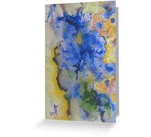 Blue Pansies, Abstract Floral, Blue, Lavender, Contemporary Greeting Card