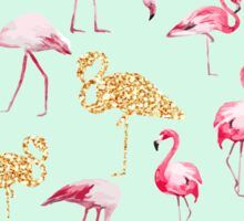 Mint gold flamingo Sticker