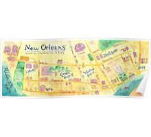 Illustrated map of New Orleans, Louisiana, USA Poster