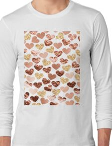 Rose gold hearts Long Sleeve T-Shirt