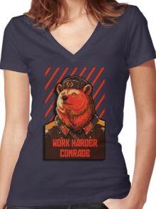 Vote Soviet bear - russian bear meme Women's Fitted V-Neck T-Shirt