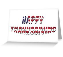 Happy Thanksgiving USA Flag Words Greeting Card