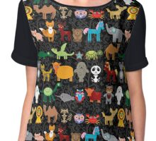 Animals on black background Chiffon Top