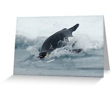 Diving Emperor Penguin Greeting Card