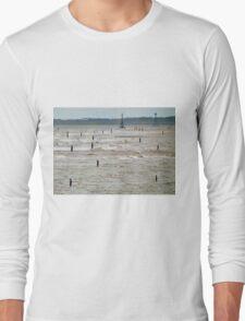 Gormley Statues on the beach (Digital Art) Long Sleeve T-Shirt