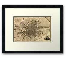 Vintage Map of Dublin Ireland (1797)  Framed Print