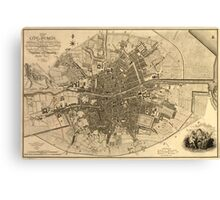 Vintage Map of Dublin Ireland (1797)  Canvas Print