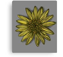 Yellow Daisy on Cloudy Grey Canvas Print