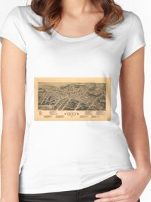 Vintage Pictorial Map of Durham NC (1891) Women's Fitted Scoop T-Shirt