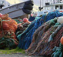 Dutch Harbor Fishing Nets and Boats by BravuraMedia