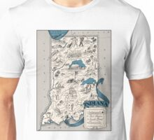 Vintage 1926 Indiana map - birthday gift idea - gift for her - gift for him - gift for mother Unisex T-Shirt