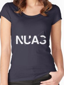 NUAS logo graphic- White Women's Fitted Scoop T-Shirt