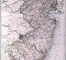 Vintage Map of New Jersey (1884) by BravuraMedia