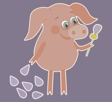 Happy pig with a flower in a hand Kids Tee