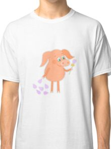 Happy pig with a flower in a hand Classic T-Shirt