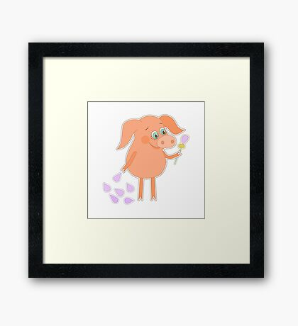 Happy pig with a flower in a hand Framed Print