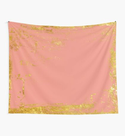 Peachy pink with gold Wall Tapestry
