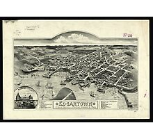 Vintage Pictorial Map of Edgartown MA (1886) Photographic Print