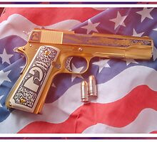 Gangsta Golden Gun With American flag by changetheworld