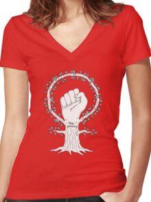 Feminist Tree Women's Fitted V-Neck T-Shirt