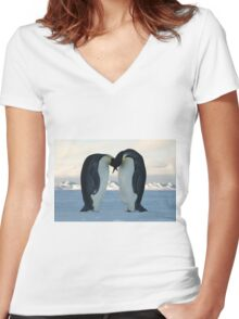 Emperor Penguin Courtship Women's Fitted V-Neck T-Shirt