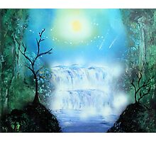 Spray Paint Art- Double waterfall Photographic Print