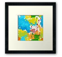 Multicolor abstract spots, brightly colored lines Framed Print