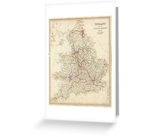 Vintage Map of England (1837)  Greeting Card