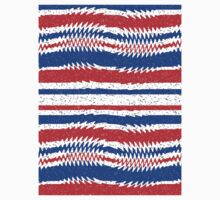 Red White Blue Waving Lines One Piece - Long Sleeve