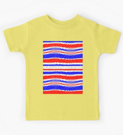 Red White Blue Waving Lines Kids Tee
